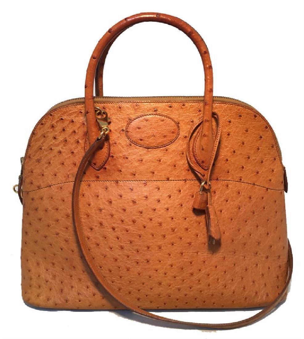 Hermes Tan Ostrich Bolide Handbag