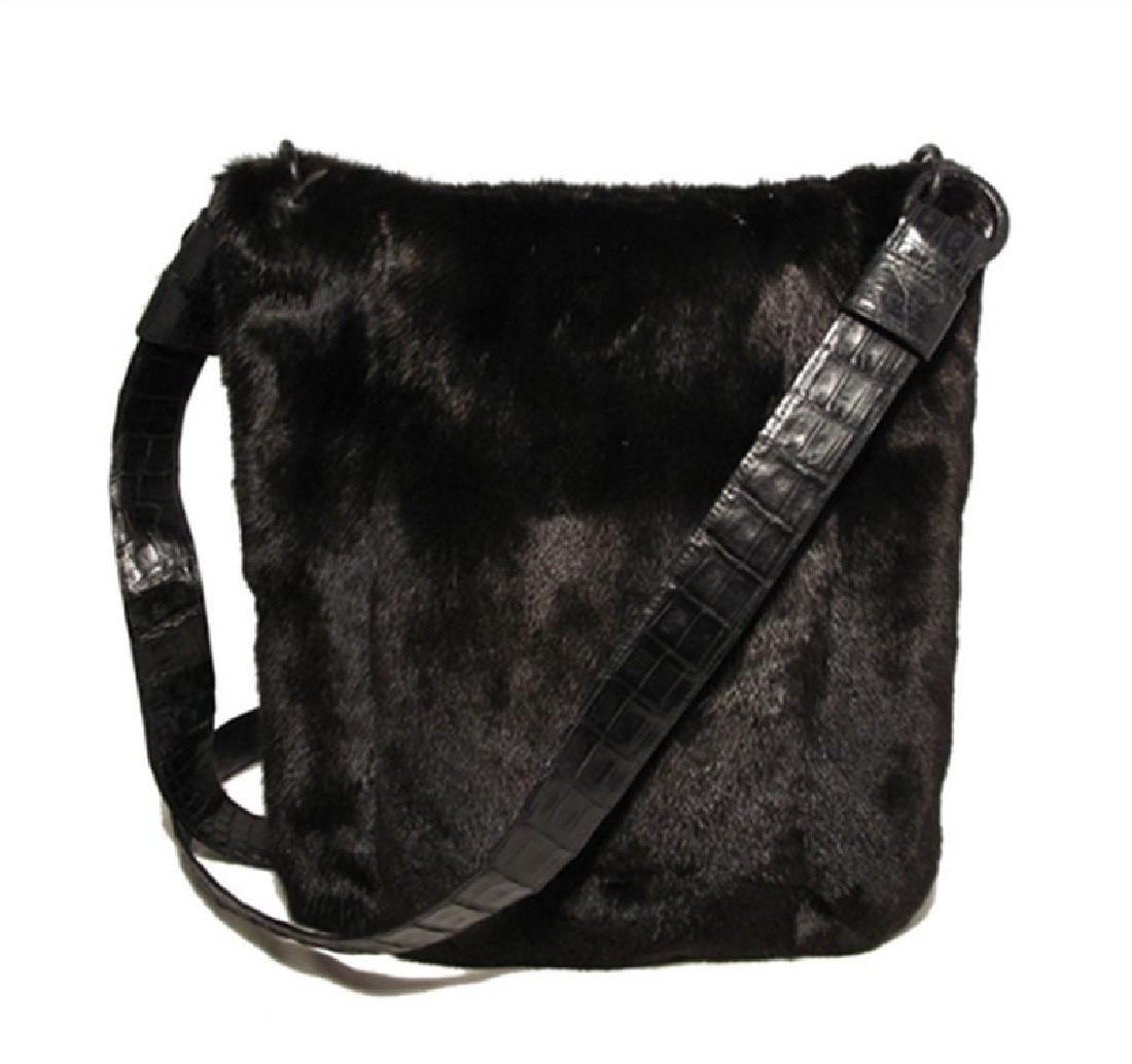 Nancy Gonzalez Black Mink Fur & Crocodile Crossbody Bag