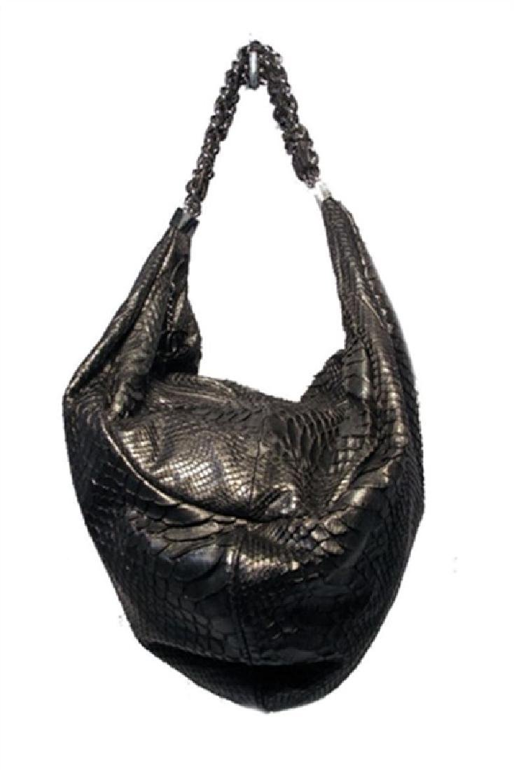 Chanel Black Python Hobo Shoulder Satchel Bag