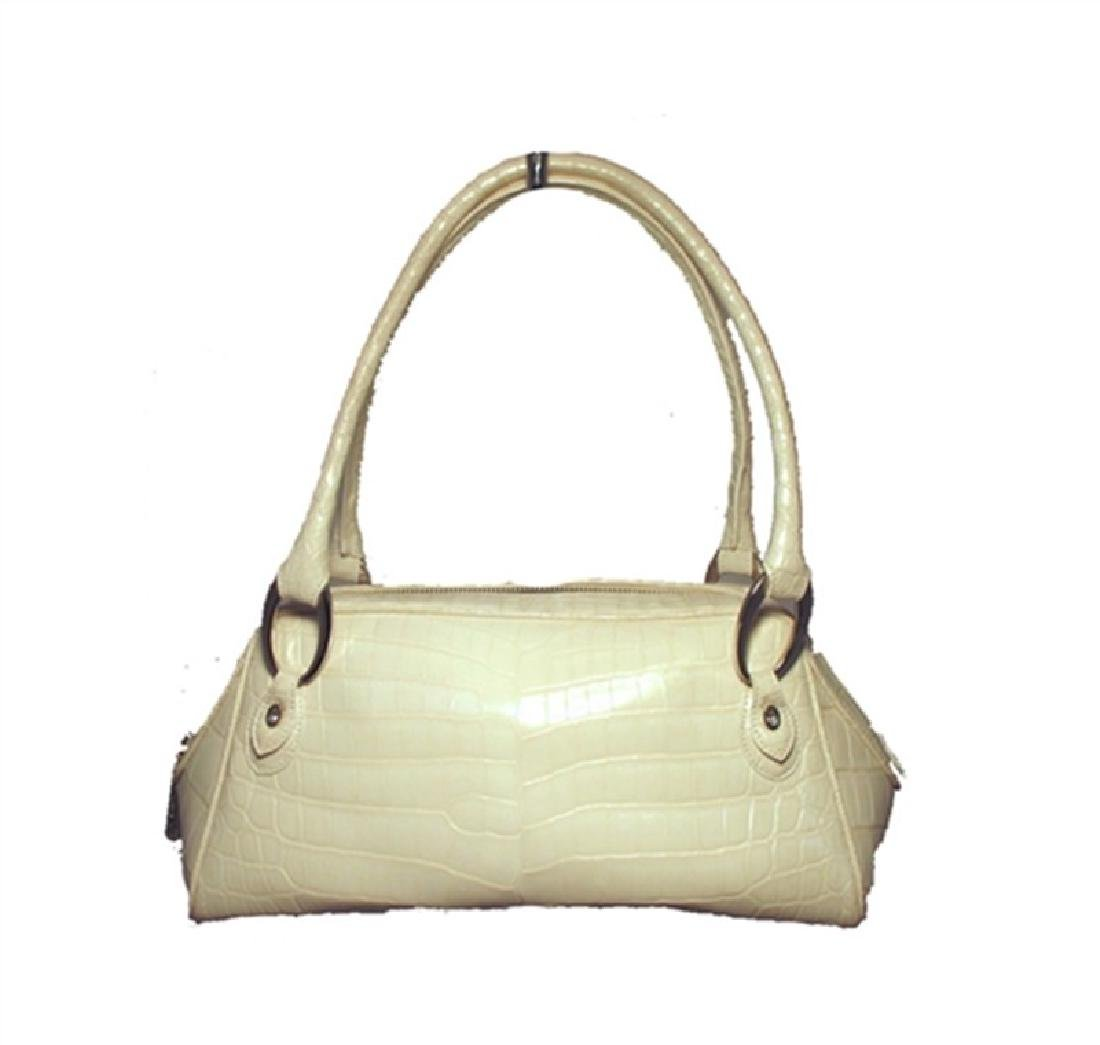 Judith Leiber White Alligator Handbag With Swarovski