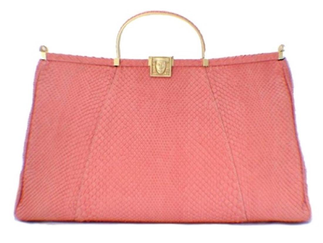 Barry Kieselstein-Cord Pink Snakeskin Handbag