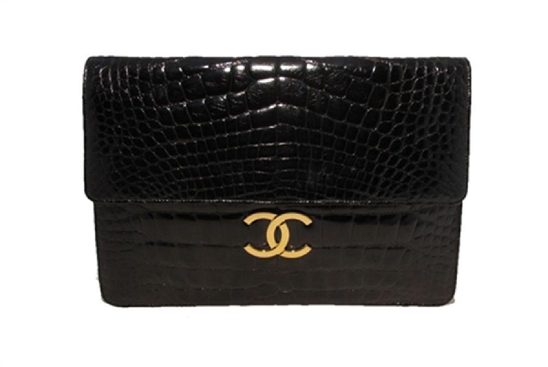Chanel Black Alligator Oversized Clutch With Chain