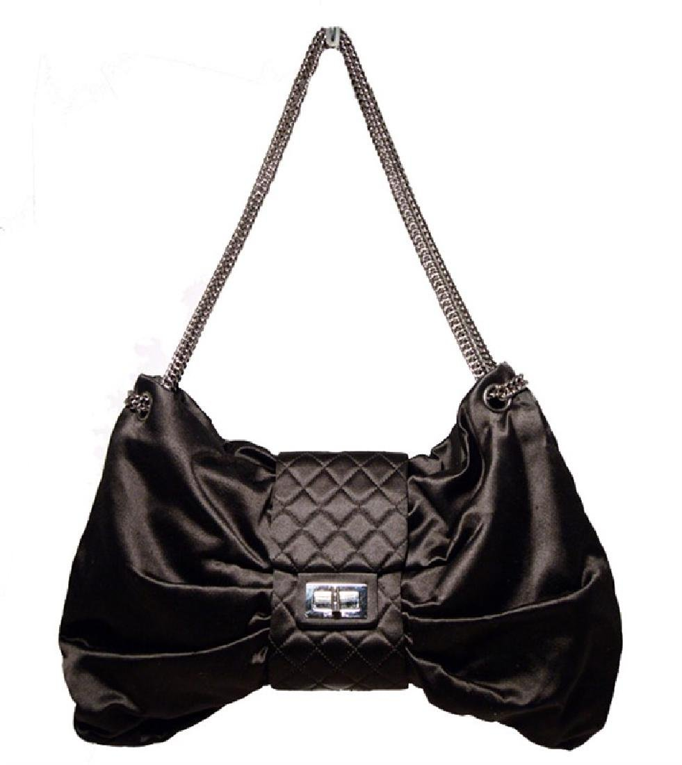 Chanel Black Satin Bow Shoulder Evening Bag