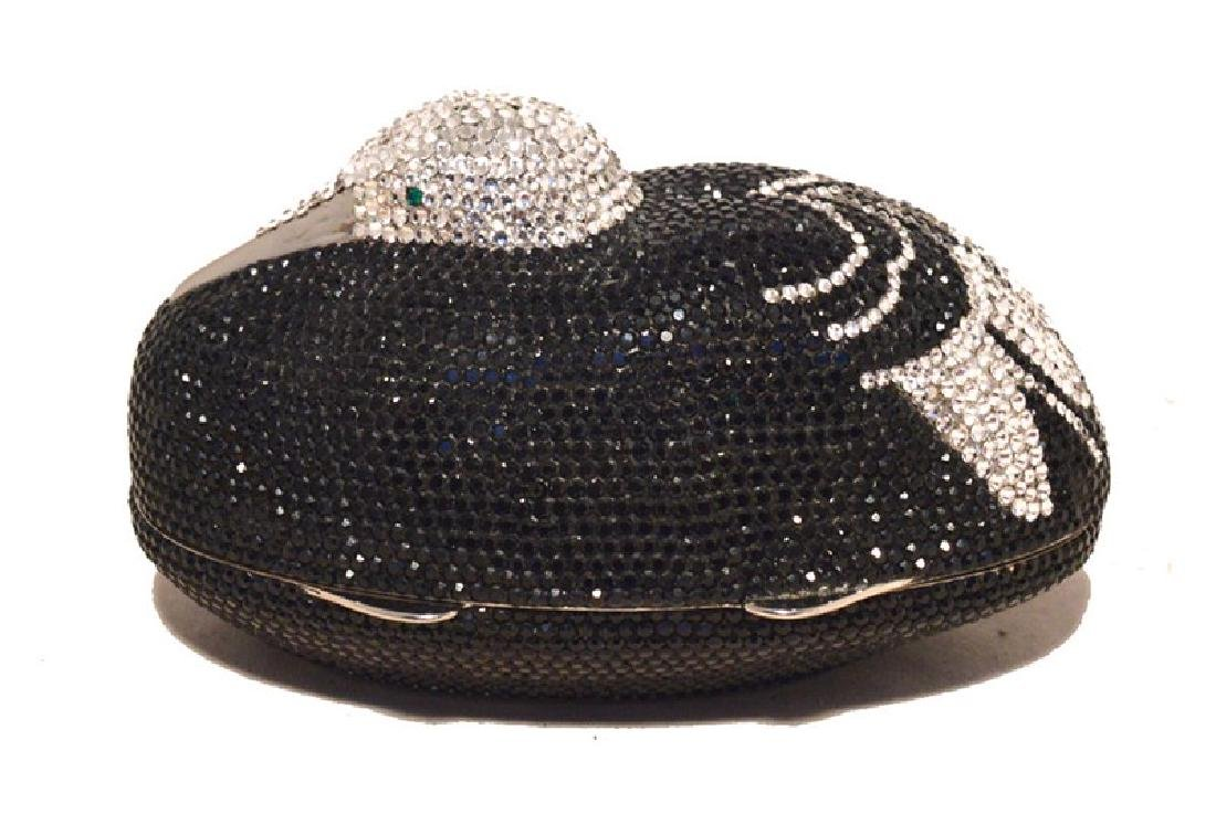 Judith Leiber Black & Silver Crystal Sitting Duck