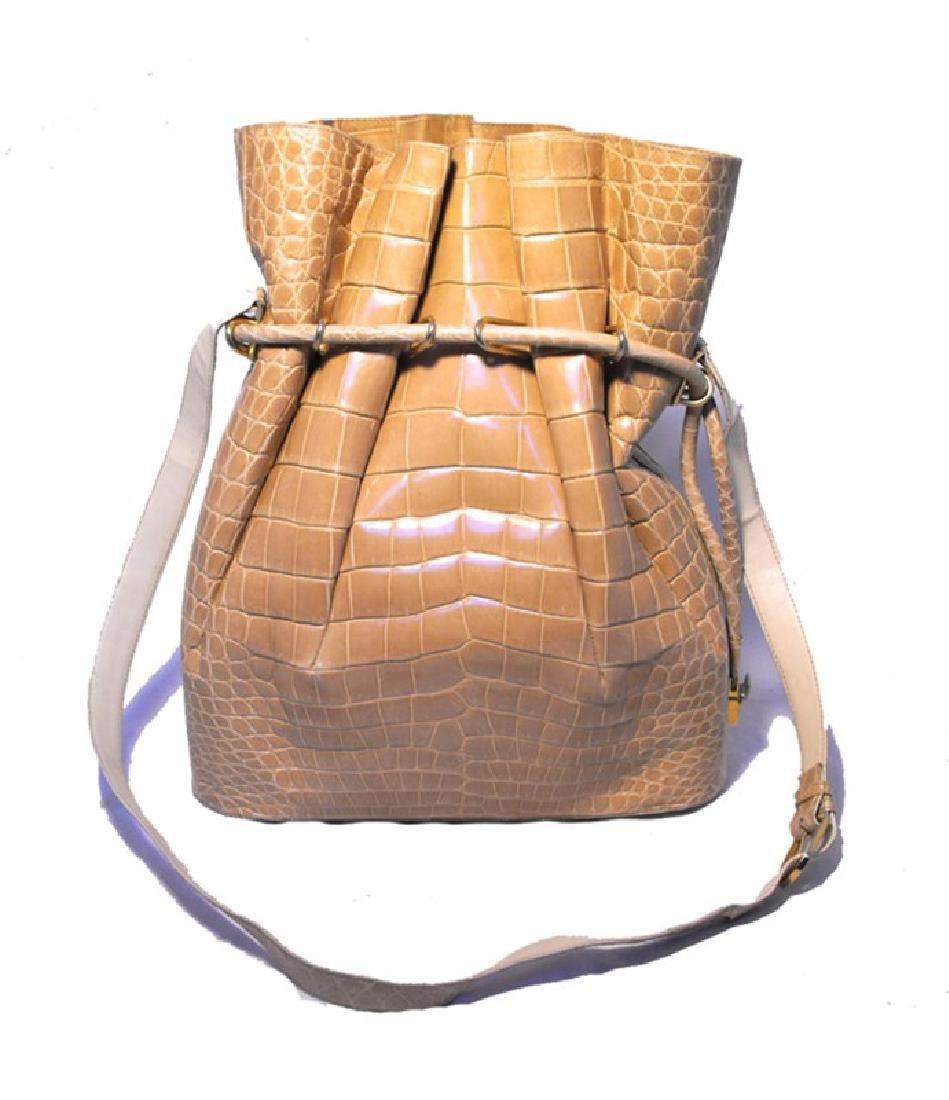 Vintage Morabito Natural Alligator Bucket Shoulder Bag