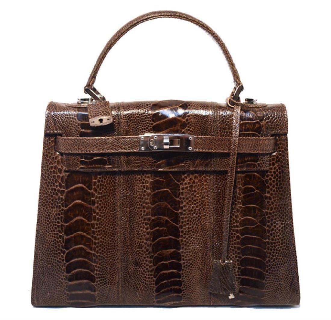 Lorenzi Brown Ostrich Kelly Bag