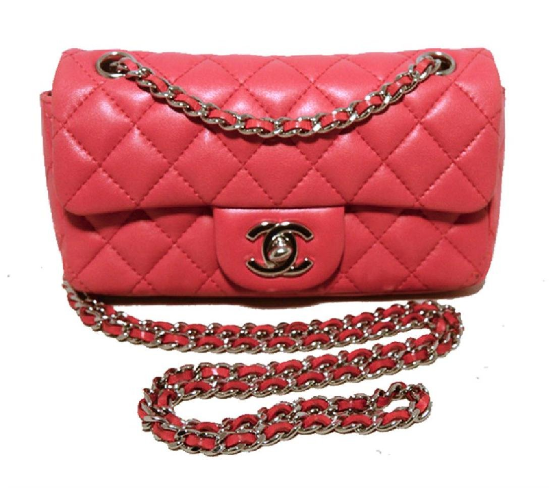 Chanel Dark Pink Quilted Classic Extra Mini Flap