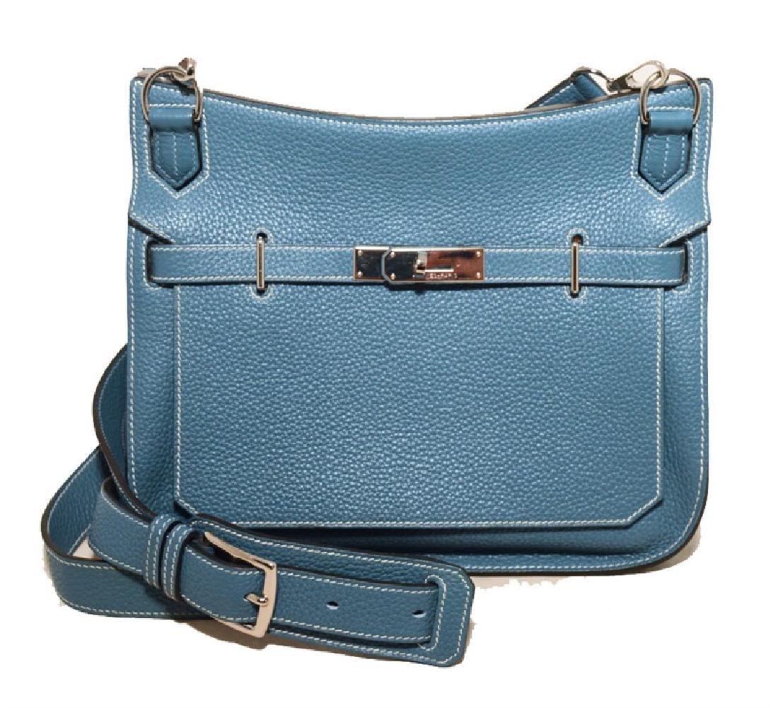 Hermes Blue Jean Clemence Leather Jypsiere 26 Shoulder
