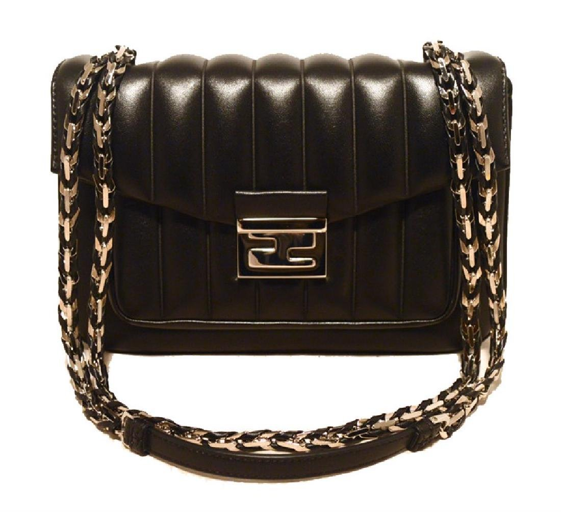 Fendi Black Stripe Quilted Leather Classic Flap