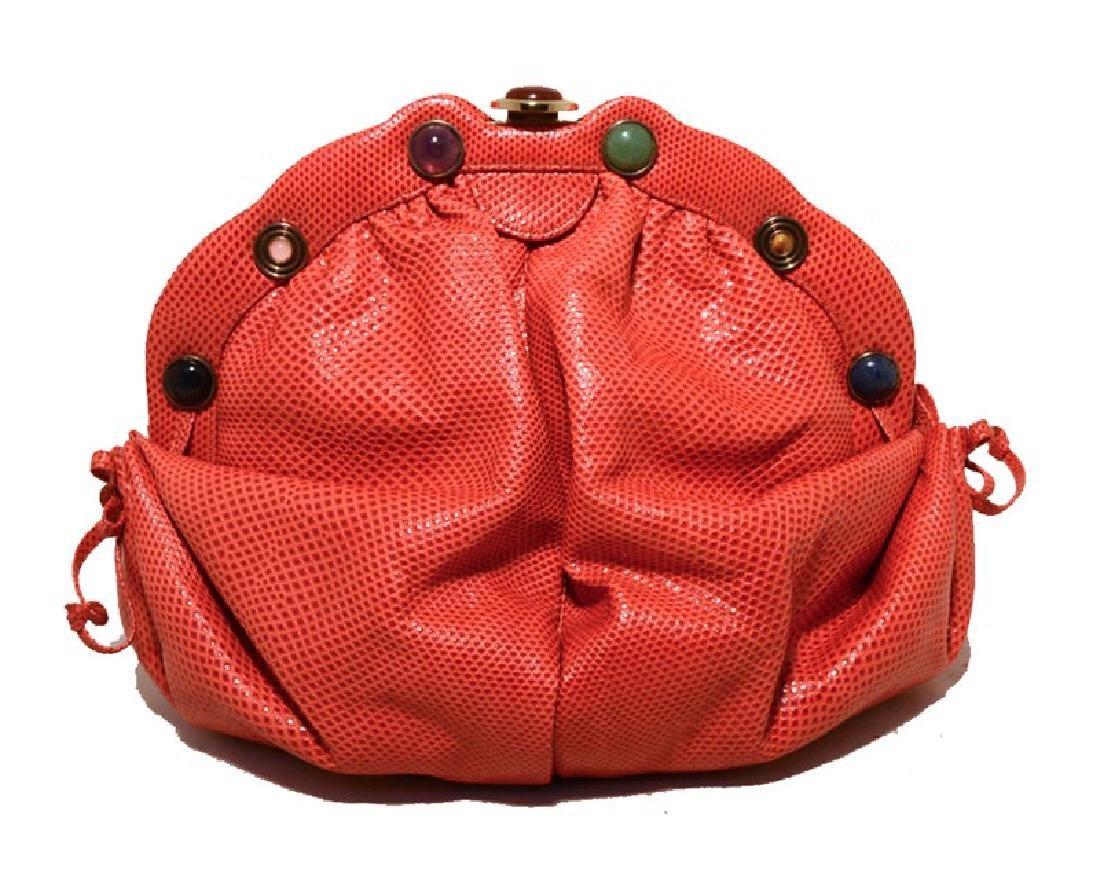 Judith Leiber Dark Pink Coral Lizard Leather Clutch