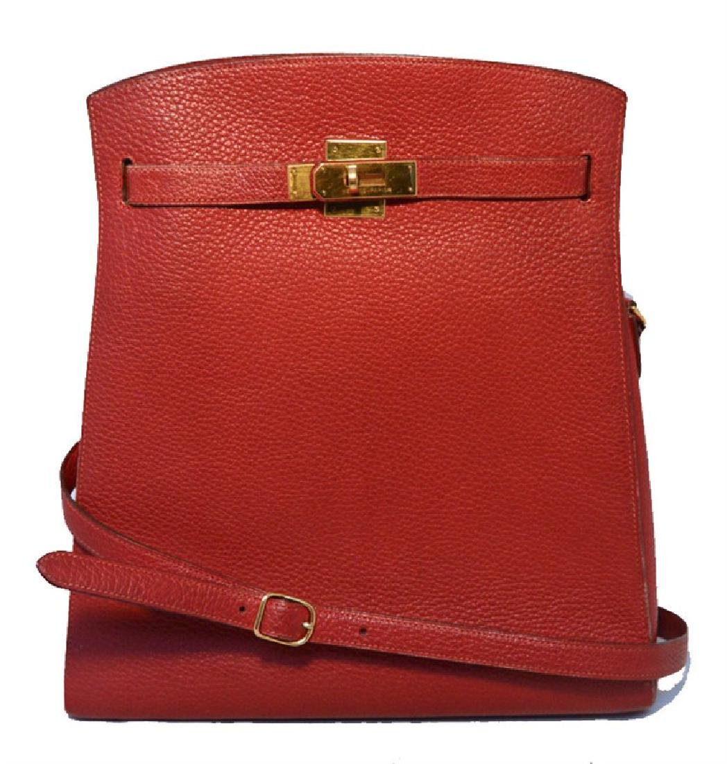 RARE HERMES Vintage Rouge Clemence Leather Kelly Sport