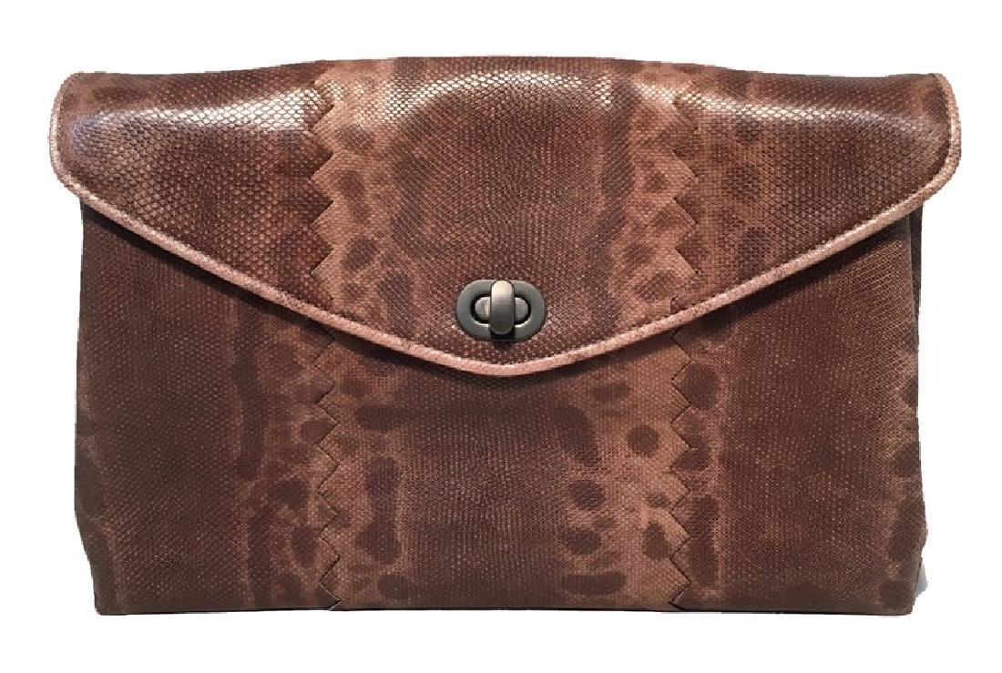 Bottega Veneta Brown Lizard Leather Clutch
