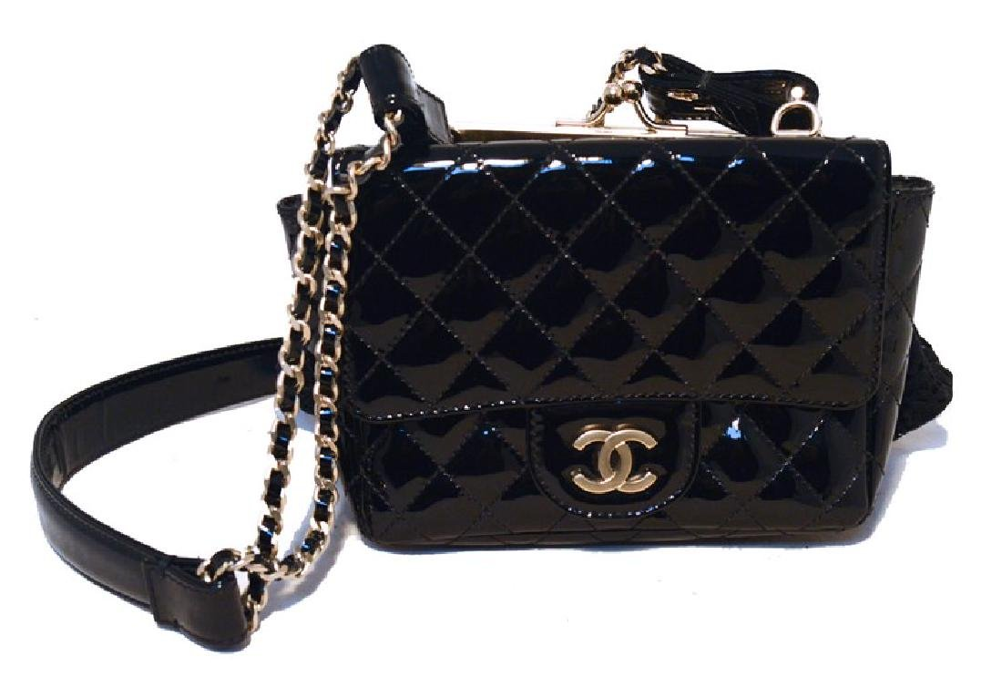 Chanel Black Patent Leather Classic and Lace Pouch