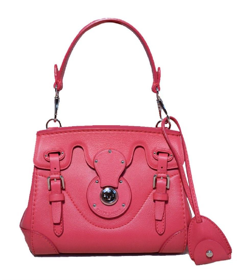 Ralph Lauren Hot Pink Leather Mini Ricky Bag with Strap