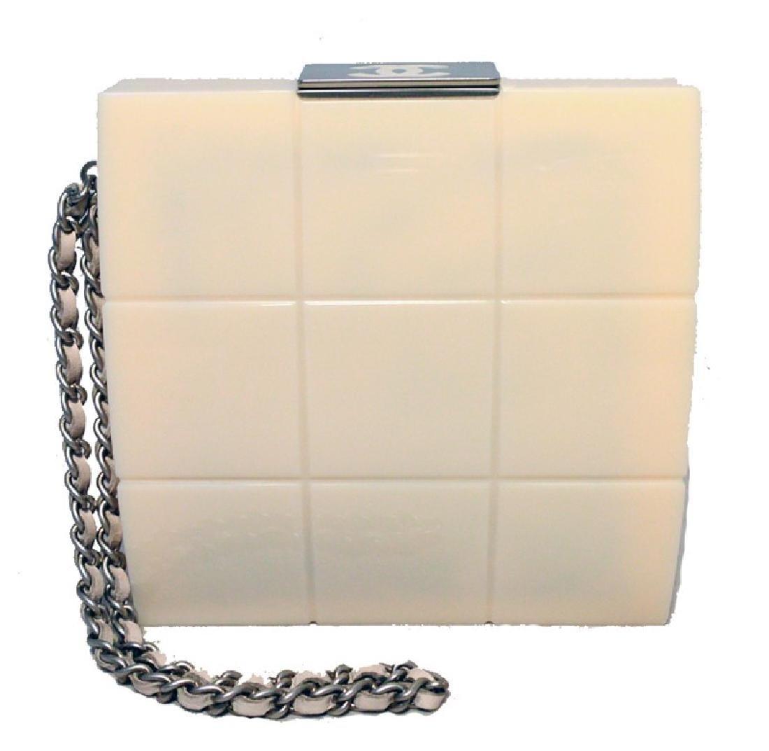 Chanel Cream Resin Box Clutch Wristlet