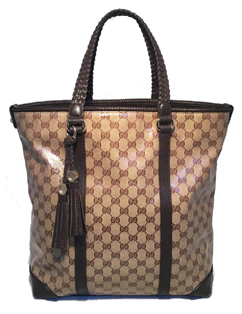 Gucci Coated Monogram and Brown Braided Leather Trim