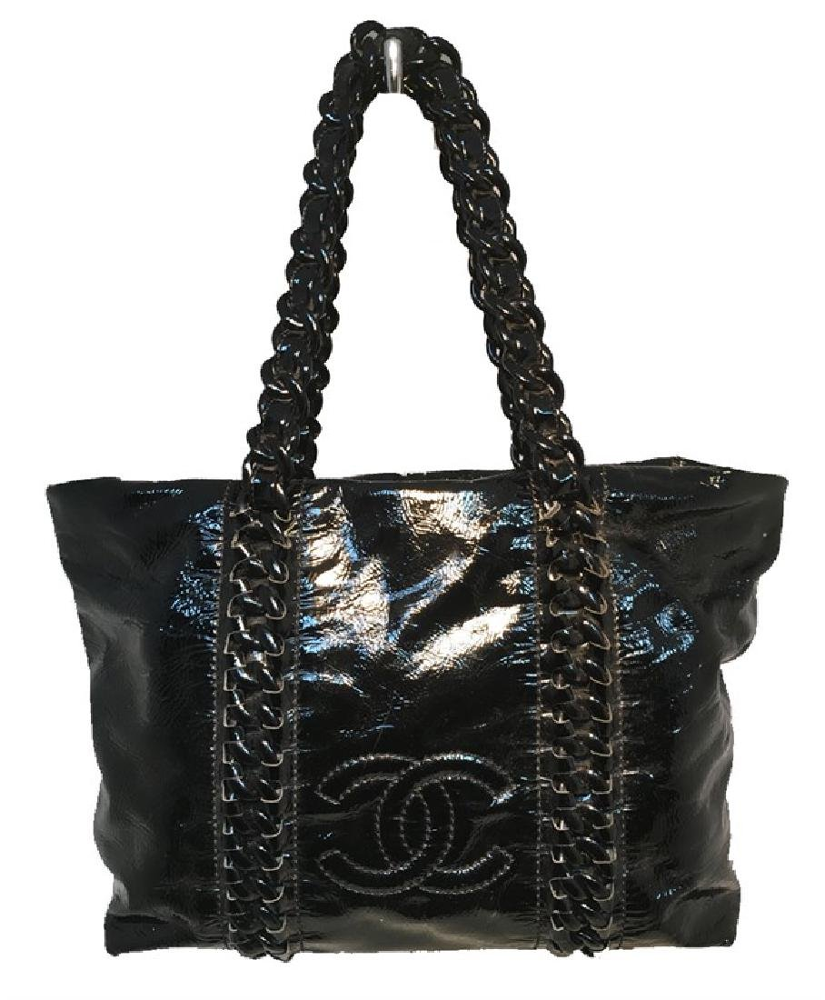Chanel Black Distressed Patent Leather Shoulder Tote