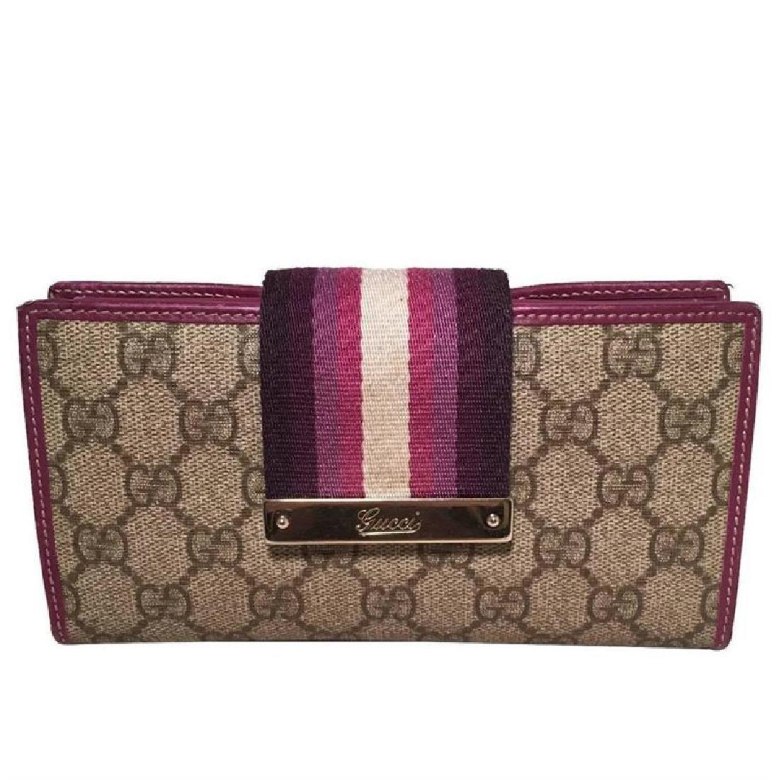 Gucci Monogram Purple Striped Canvas Wallet