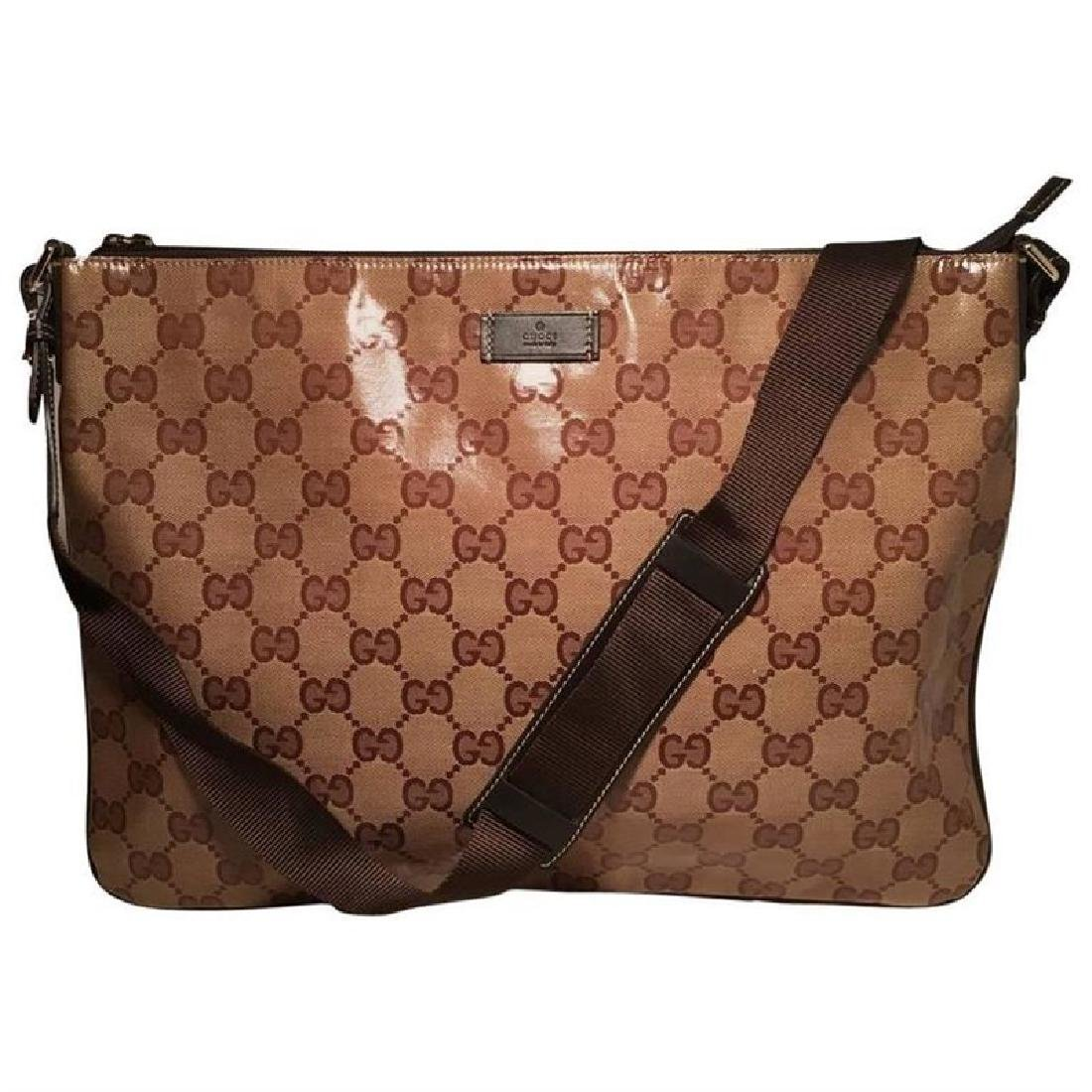 Gucci XL Coated Monogram Canvas Slim Messenger Shoulder