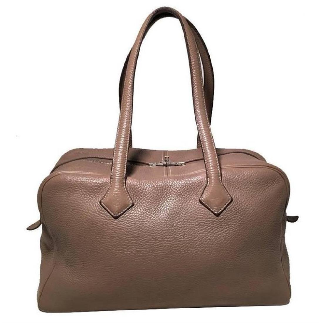 Hermes Grey Clemence Leather Victoria II 35