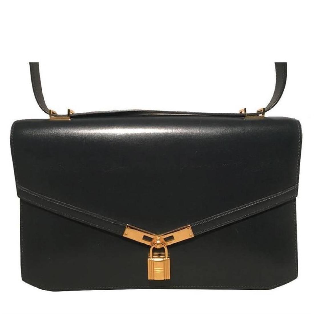 Hermes Vintage Navy Blue Leather Kelly Lock Front Flap