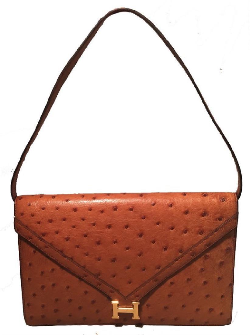 Hermes Vintage Tan Ostrich Leather Shoulder Bag