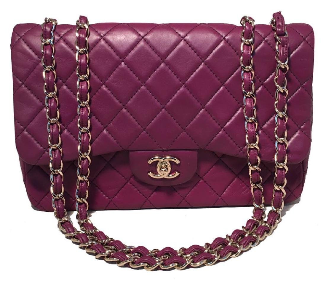Chanel Purple Leather Jumbo Classic Flap Shoulder Bag
