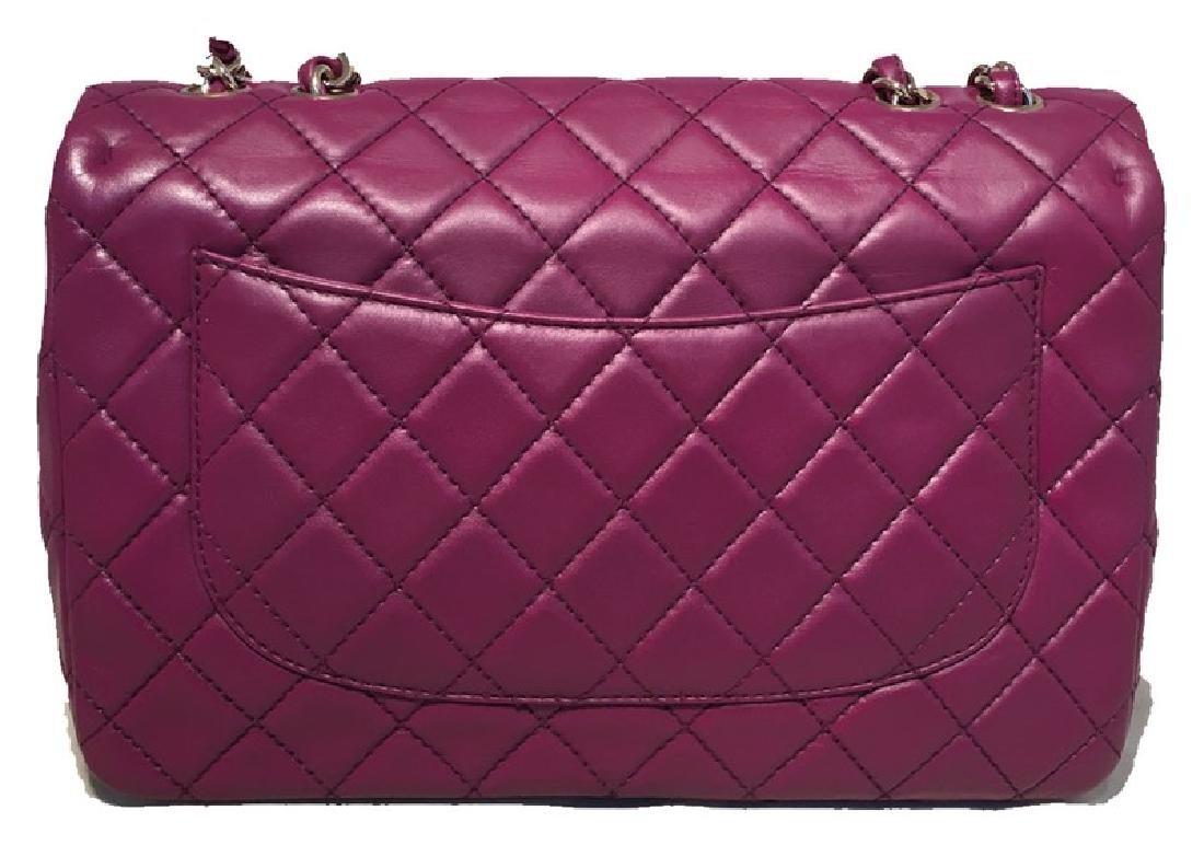 Chanel Purple Leather Jumbo Classic Flap Shoulder Bag - 3