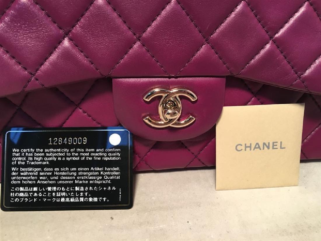 Chanel Purple Leather Jumbo Classic Flap Shoulder Bag - 8