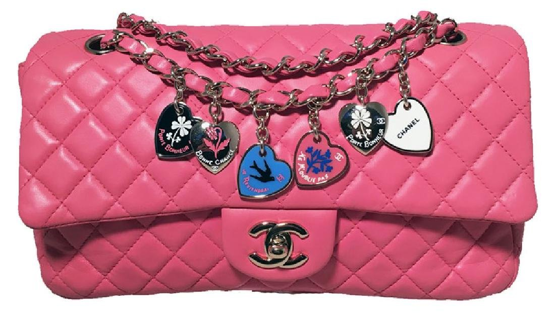 Chanel Pink Quilted Charms Classic Flap Shoulder Bag