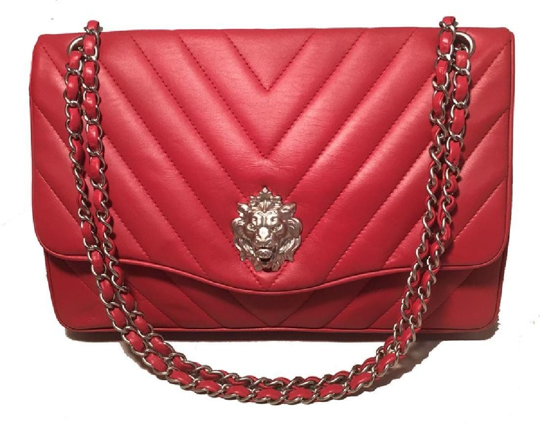 Chanel Red Chevron Quilted Lions Head Classic Flap