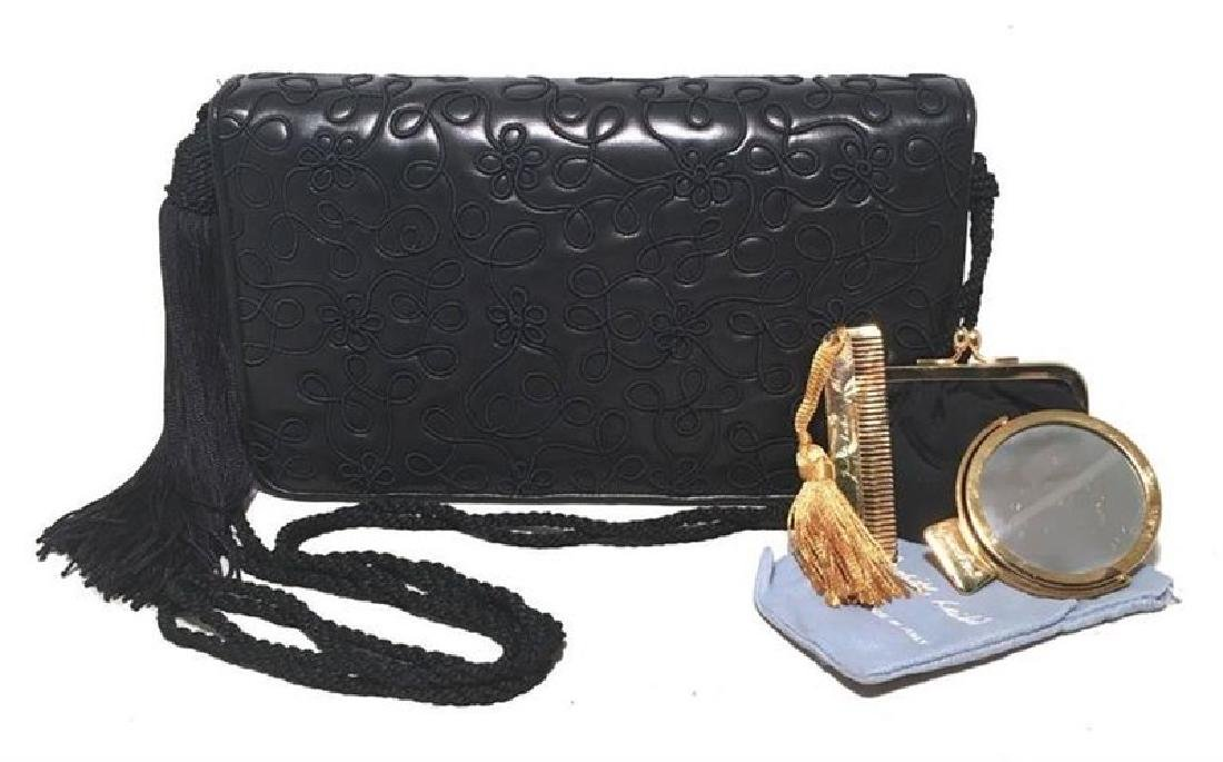 Judith Leiber Navy Blue Embroidered Leather Tassel
