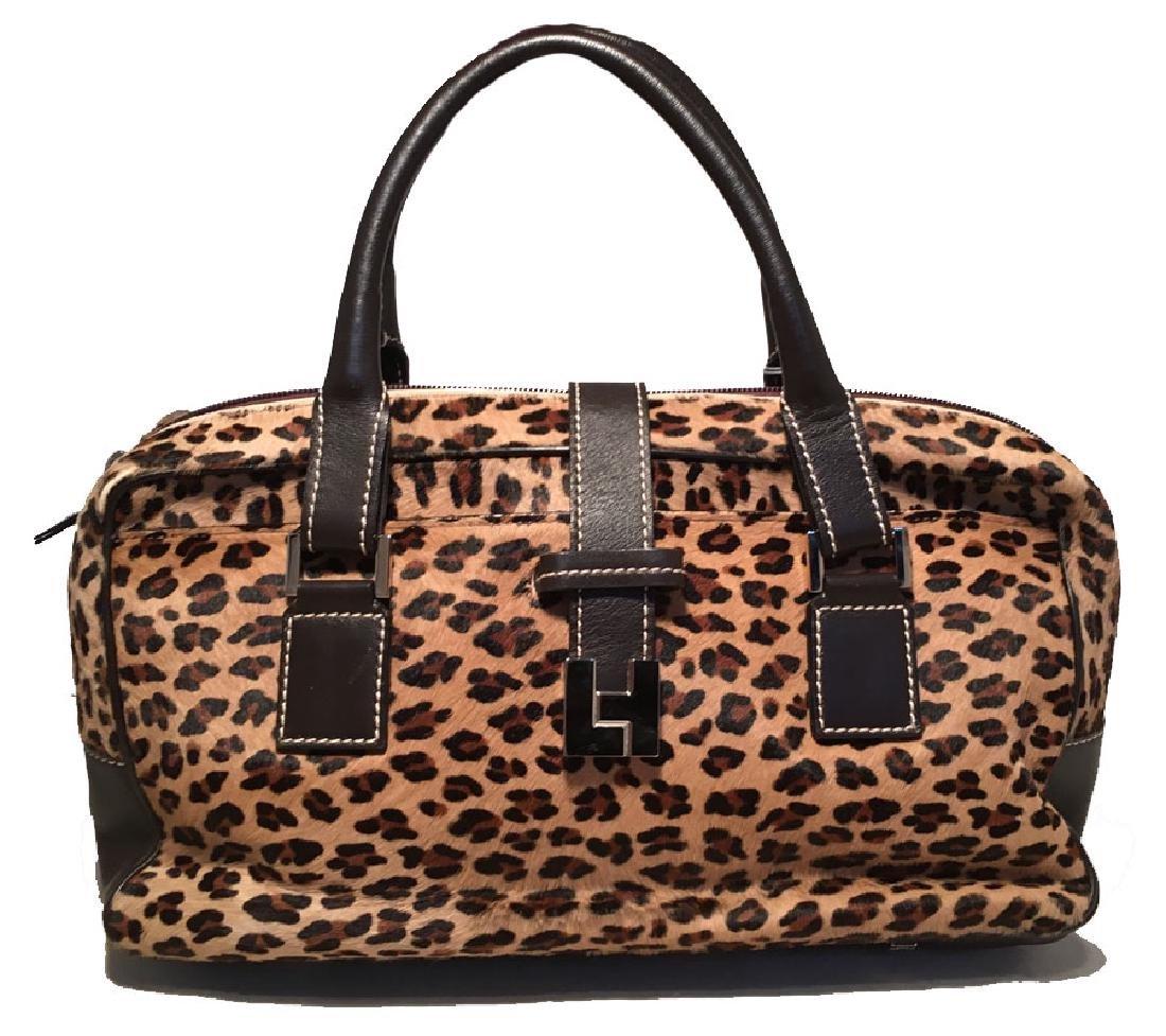 Lambertson Truex Leopard Print Pony Hair Handbag