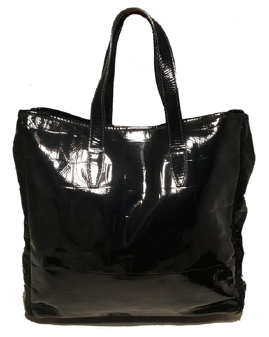 Yves Saint Laurent Black Patent Embossed Tote Bag