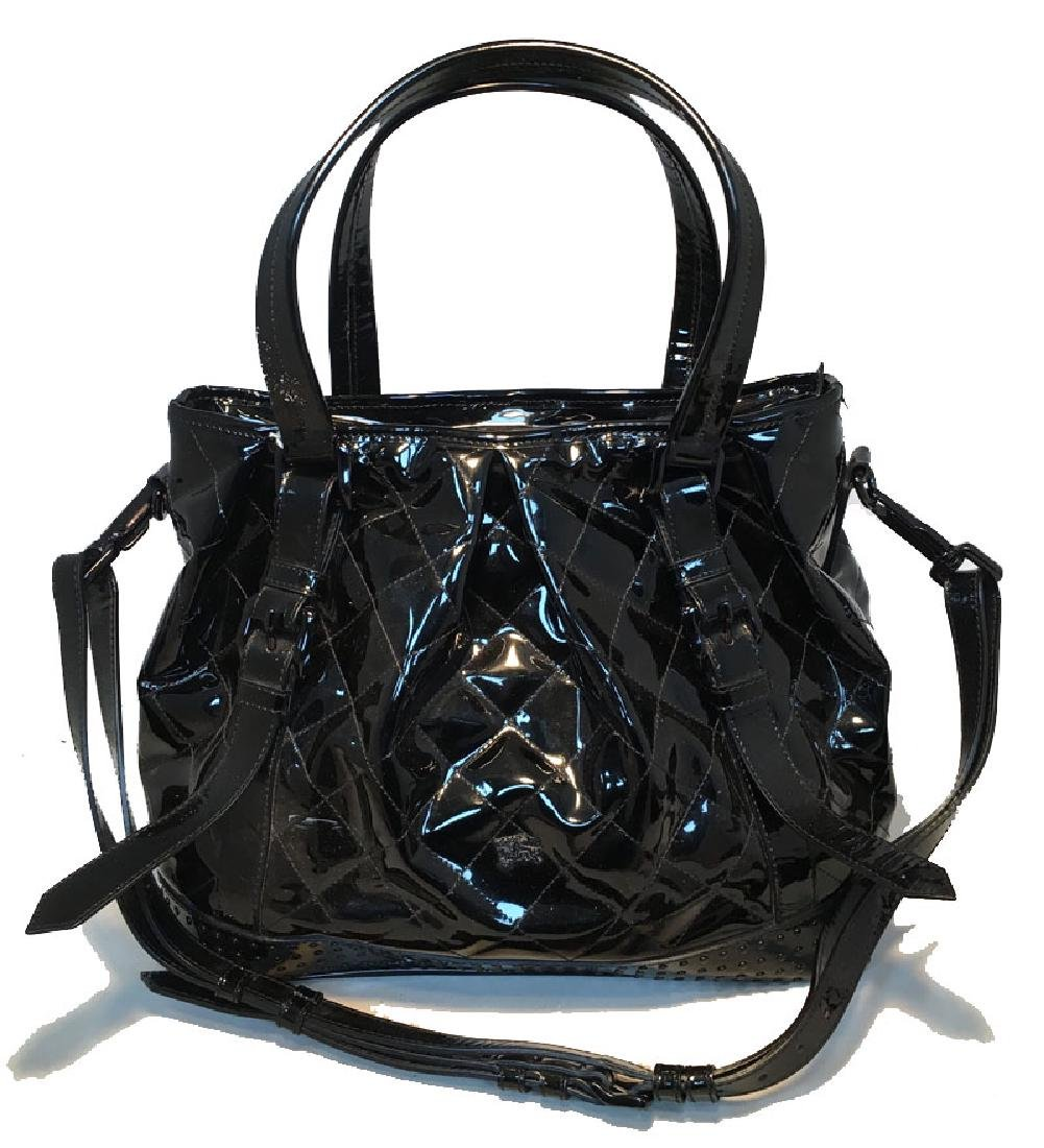 Burberry Quilted Black Patent Leather Shoulder Bag Tote