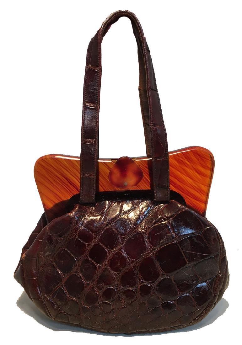 Vintage 1960s Brown Alligator Tortoiseshell Top Handbag
