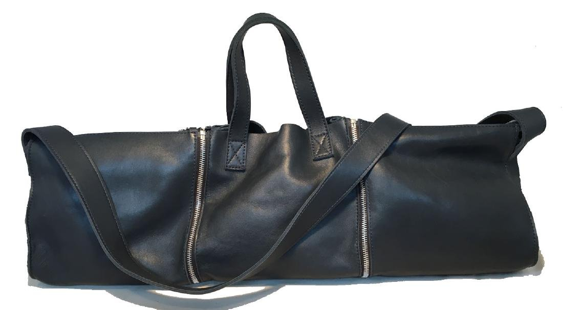 Designer Italian Navy Blue Leather 3 in 1 Handbag Tote