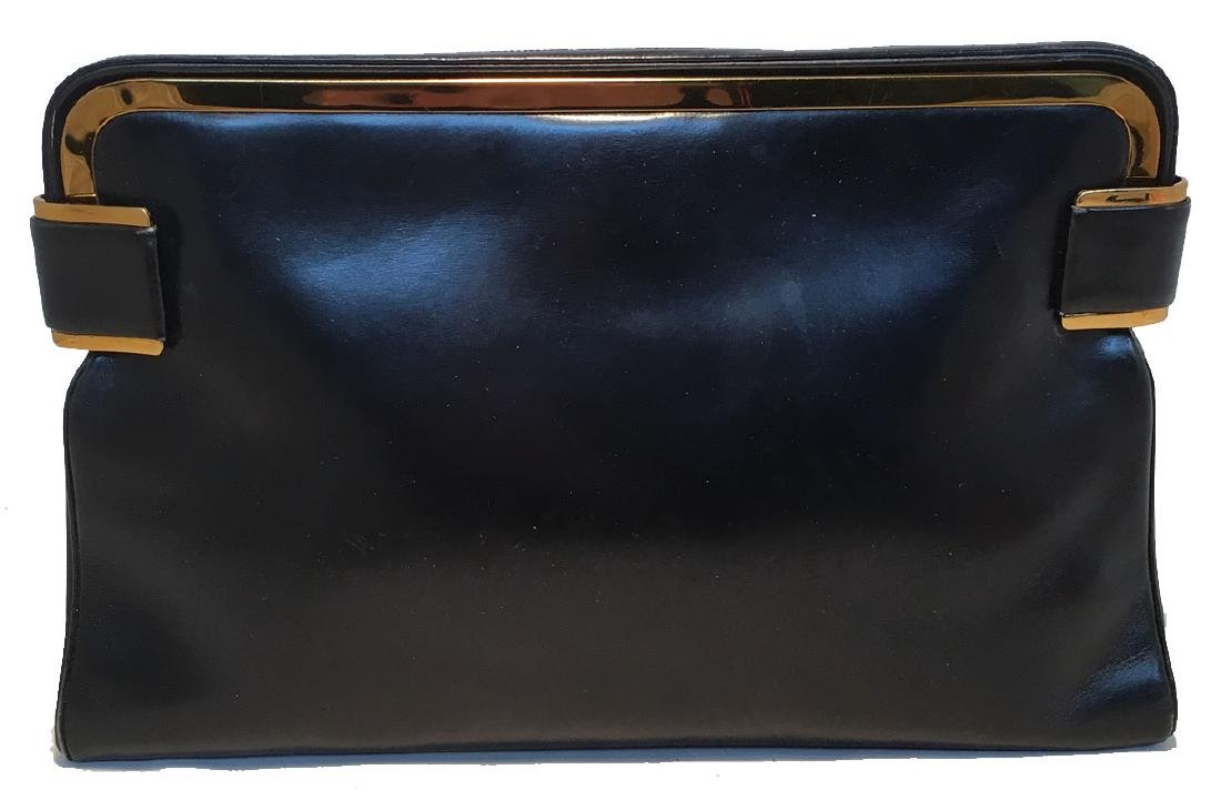 Judith Leiber Vintage Black Leather Clutch