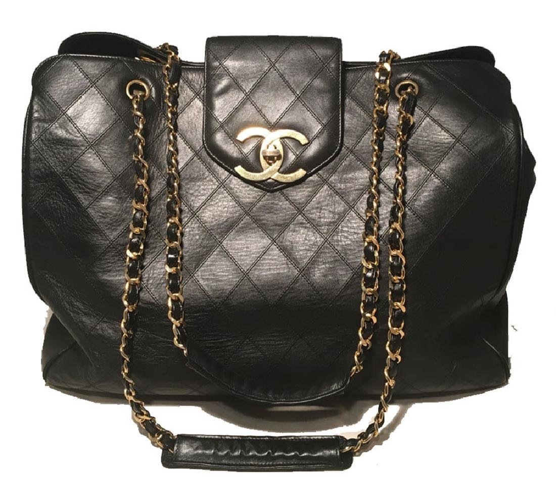 Chanel Vintage Black Leather Model Tote Overnighter