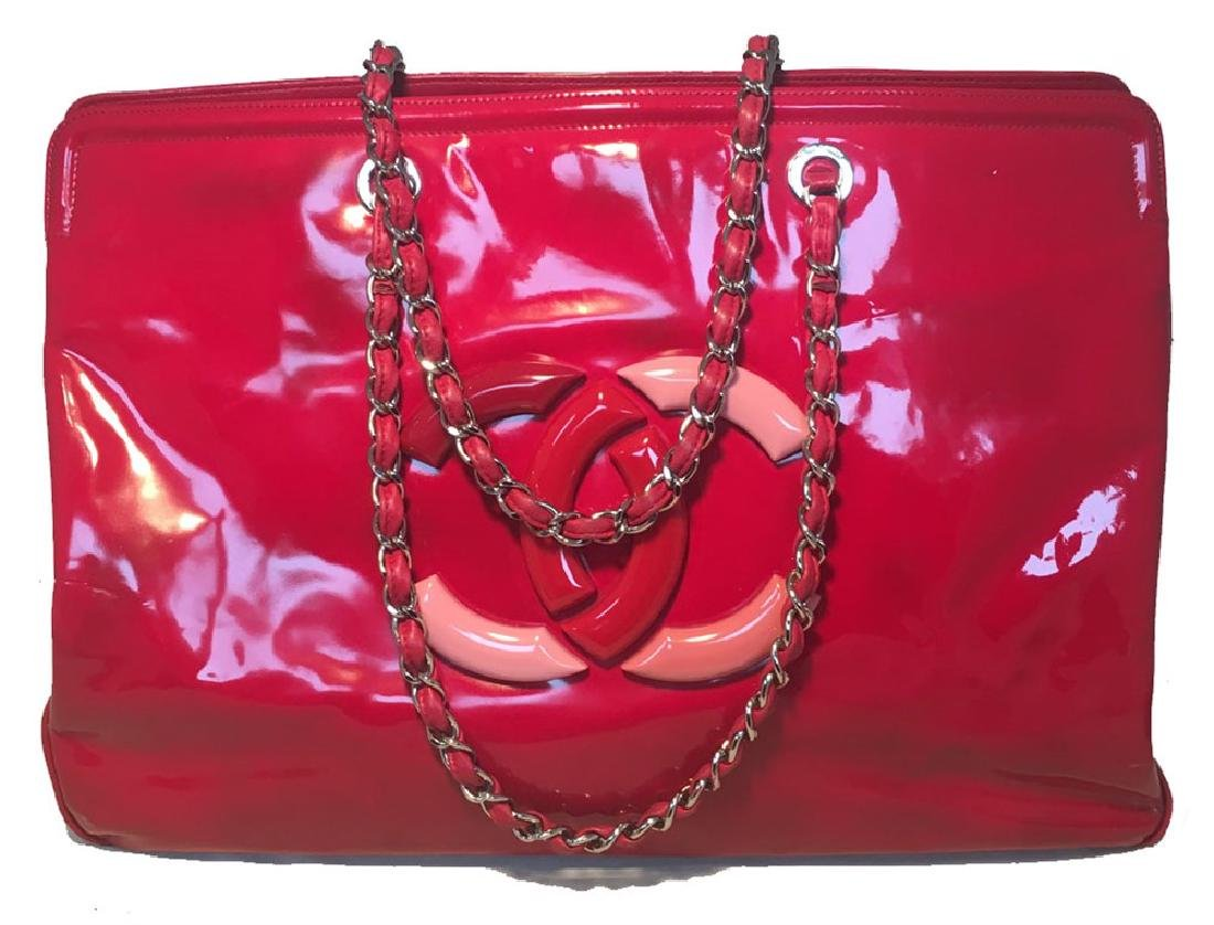 Chanel Red Patent Leather Model Overnight Weekend Tote