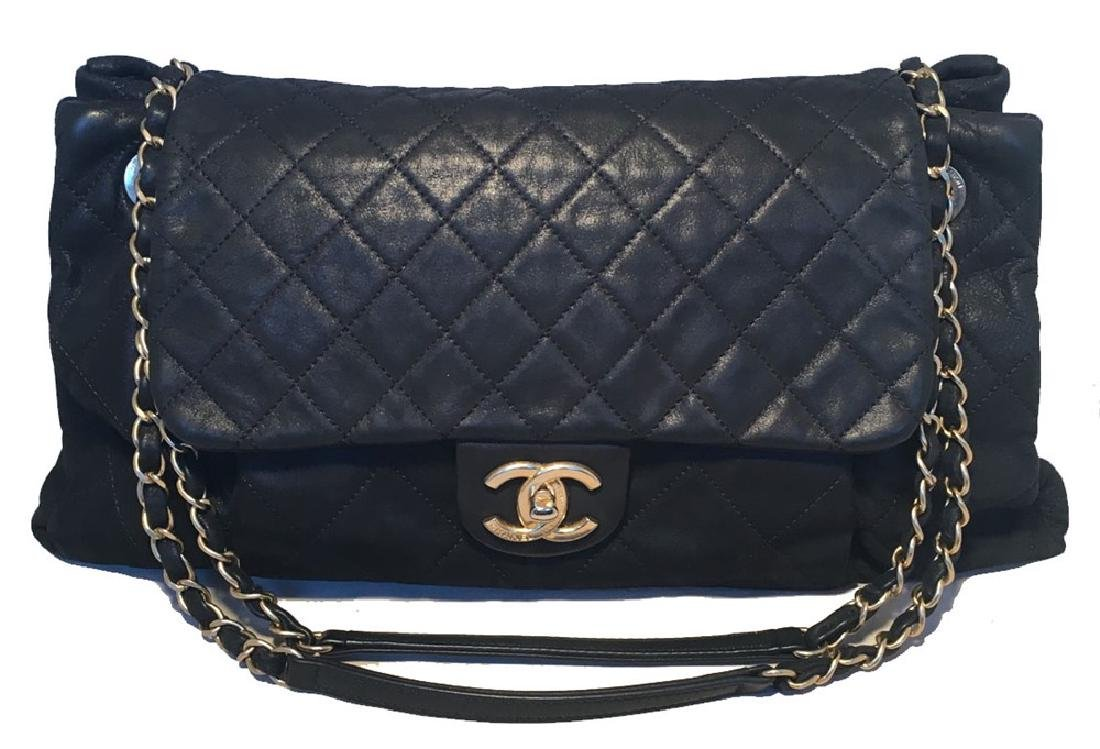 Chanel Black Quilted Leather Pleated Pocket Flap