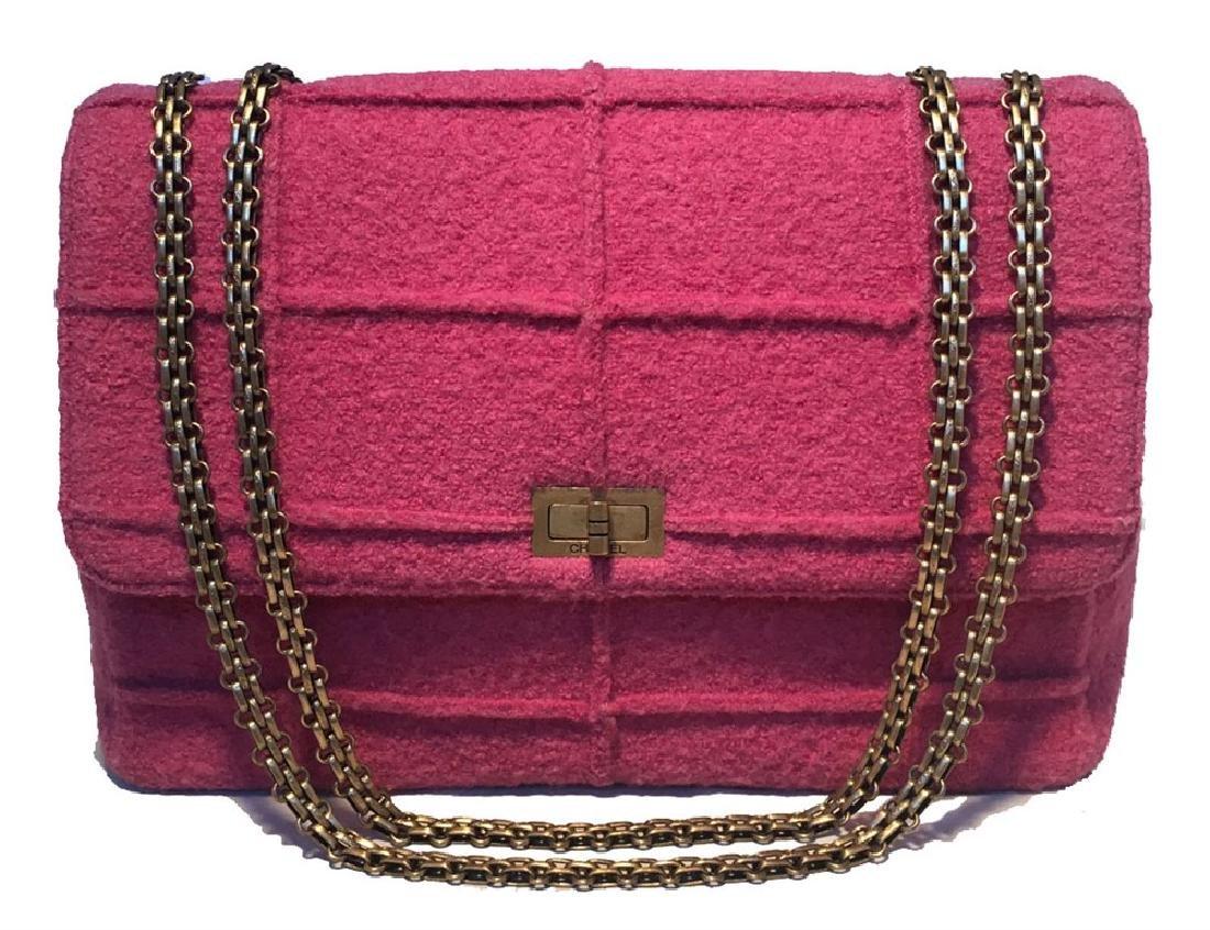 Chanel Magenta Tweed Maxi Classic Flap Shoulder Bag