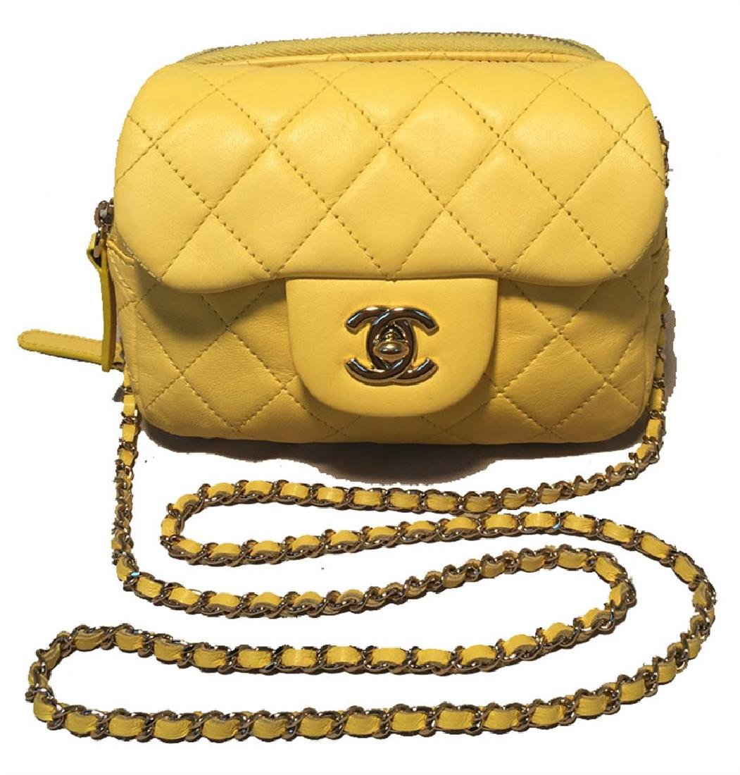 Chanel Yellow Mini Classic Flap WOC Wallet on Chain