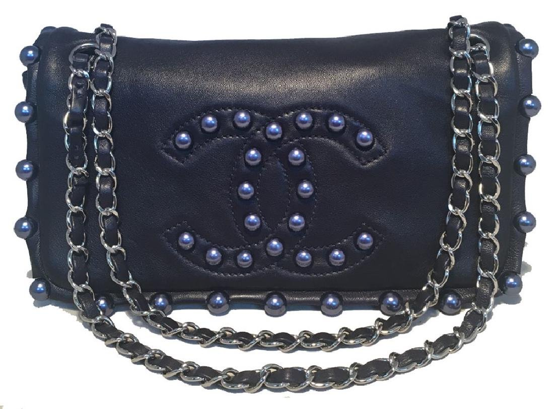 Chanel Navy Blue Leather Pearl Trim Classic Flap
