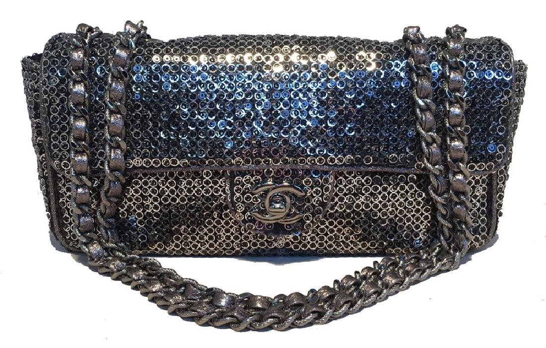 Chanel Silver Paillette Sequin Classic Flap Shoulder