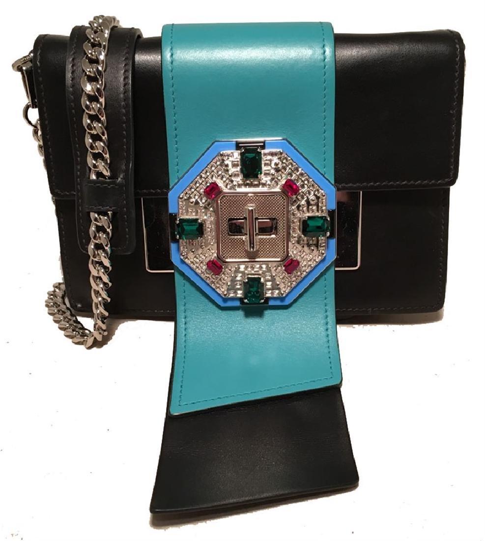 Prada Black and Teal Leather Jeweled Front Shoulder Bag