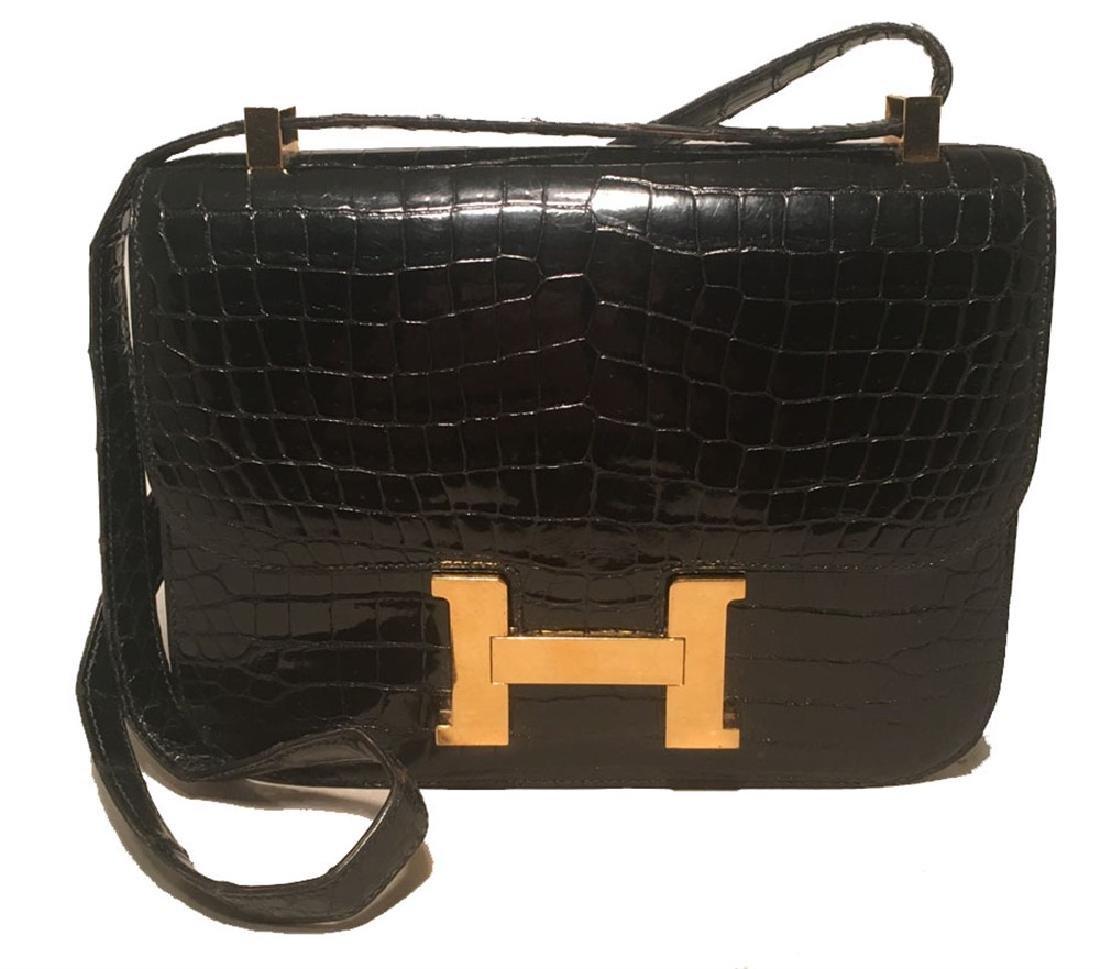 Hermes Black Crocodile Constance Shoulder Bag Rare