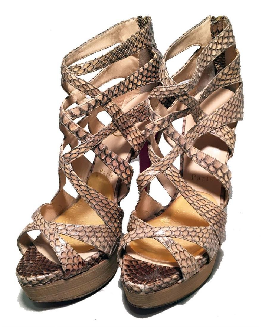 Christian Louboutin Natural Tan Snakeskin Python Cut