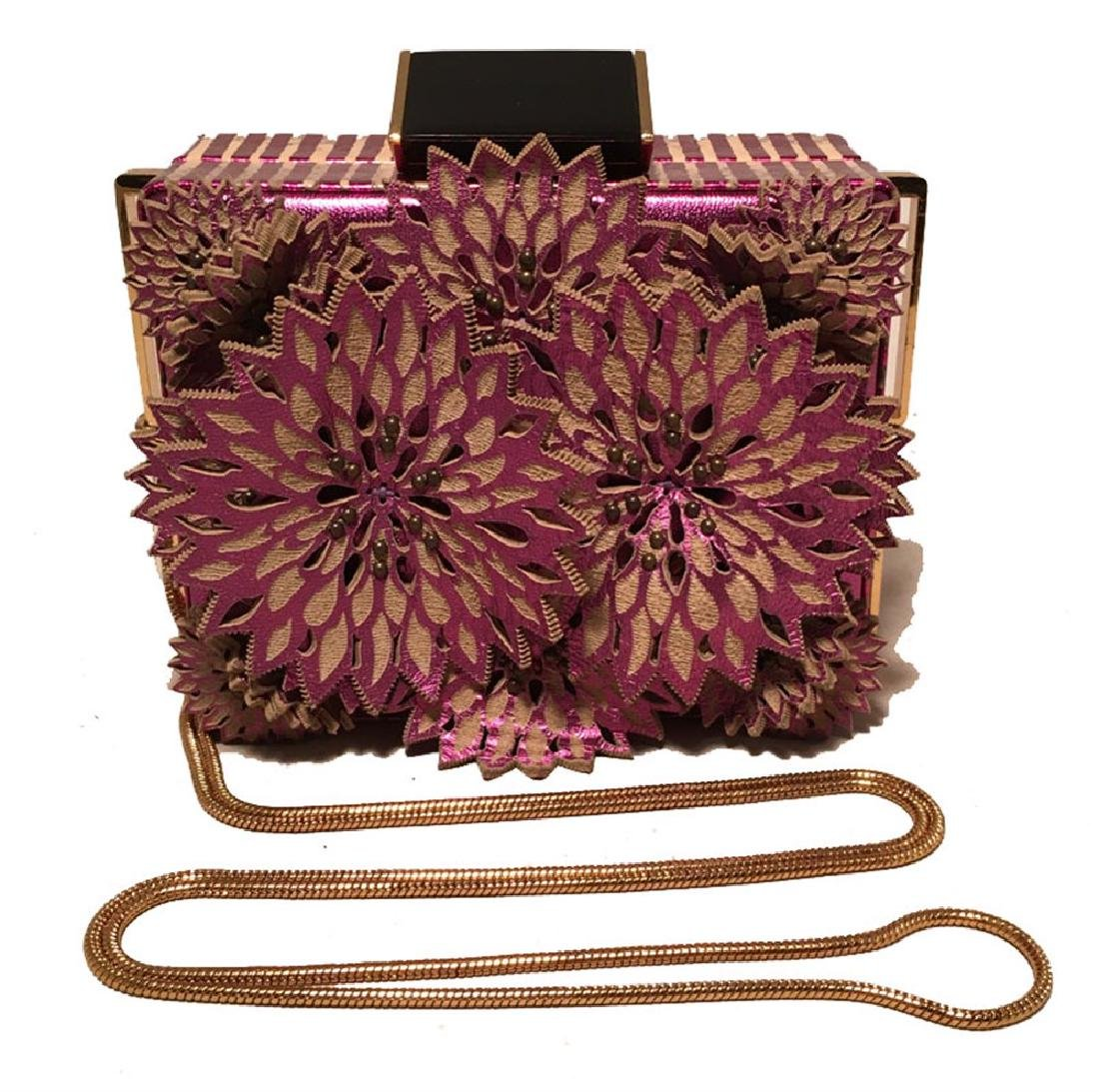 Tanya Hawkes Purple Floral Leather Cut Out Box Evening