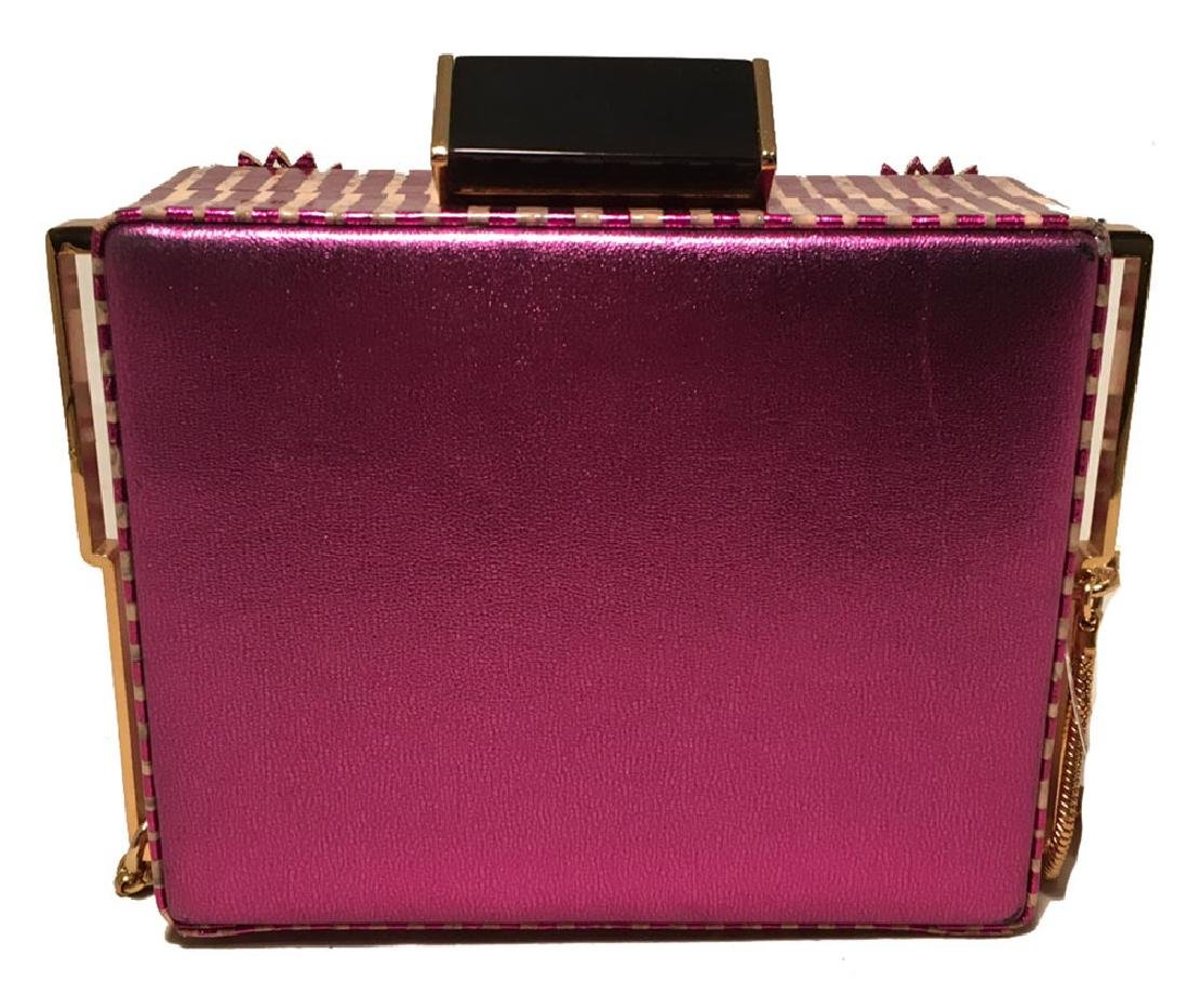 Tanya Hawkes Purple Floral Leather Cut Out Box Evening - 2
